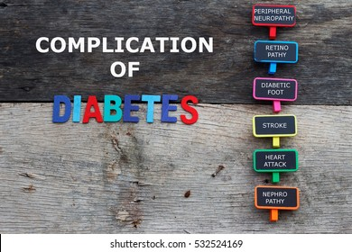 Diabetes complications. Wooden background.