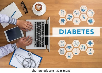 DIABETES CONCEPT Professional doctor use computer and medical equipment all around, desktop top view with copyspace, coffee