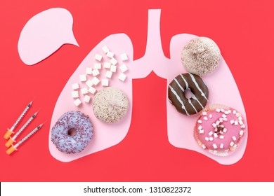 Diabetes concept. Sugar in lungs on pink background. Cholesterol diet and healthy food nutrition, world day. Conceptual composition with copyspace