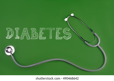 diabetes disease word with stethoscope