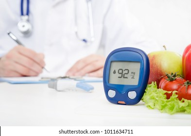 Diabetes at the doctor. Glucometer and vegetables concept. Hypoglycemia medicine care concept