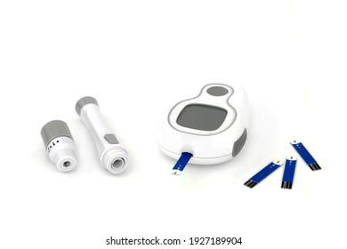 Diabetesüberwachungs- und Testausrüstung mit Blutzuckermessgerät, Tester-Tester-Leiste. Auf weißem Hintergrund.