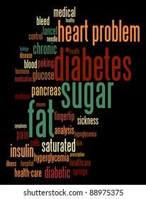 Diabetes sickness info-text graphics and arrangement word clouds concept