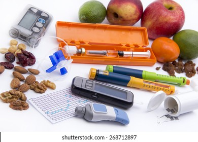 Diabetic items, care, concept, patient, monitor, test -  Education about what you need to control diabetes: insulin pump, blood sugar meter, insulin pen, glucose injection, low sugar food