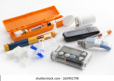 Diabetic items - care, concept, test, patient, monitor -Education about what you need to control diabetes: insulin pump, blood sugar meter, insulin pen, glucose injection, health food