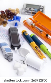 Diabetic items  Education about what you need to control (take care of) diabetes: - insulin pump for continuous feed -blood sugar meter - insulin pen - glucose injection - sugar - healthy food