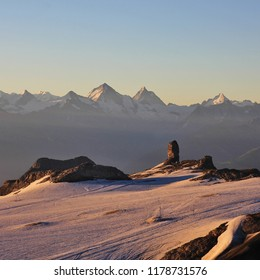 Diablerets Glacier and Quille Du Diable at sunrise. Summer morning in the Swiss Alps.