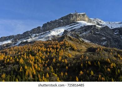 Diablerets massif in autumn colours, Col du Pillon, canton of Vaud, Switzerland