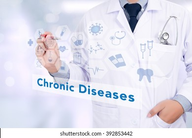 Diagnosis - Chronic Diseases. Medicine doctor hand working with modern computer interface as medical network concept