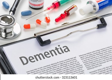 The diagnosis Dementia written on a clipboard