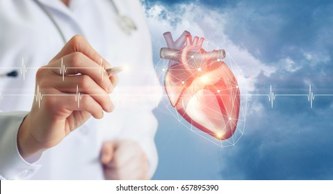 Diagnosis of heart doctor on a blue background.