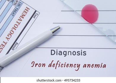 Diagnosis Iron deficiency anemia. Written by doctor hematological diagnosis Iron deficiency anemia in medical report, which are result of blood test and glass slide with blood smear for lab research