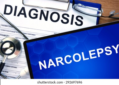 Diagnosis  Narcolepsy on a tablet and stethoscope.