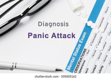 Diagnosis of Panic Attack. Results of mental status exam, container with pills with inscription psychiatric diagnosis Panic Attack on white background or white workplace psychiatrist or psychologist