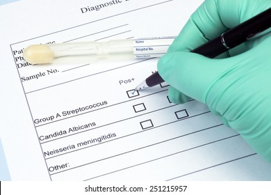 Diagnostic culture swab and holder with streptococcus group A box checked.  Document is fictitious.