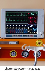 Diagnostic instrument displaying pulse, blood-pressure and other information