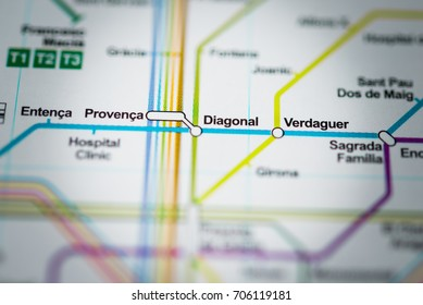 Diagonal, Barcelona Metro map.