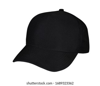 Diagonal black cap, showing the front and a little from the side. Hat sample isolated.
