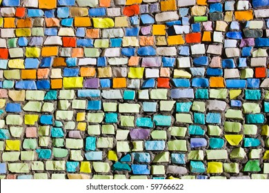 Diagonal colorful mosaic texture on the wall