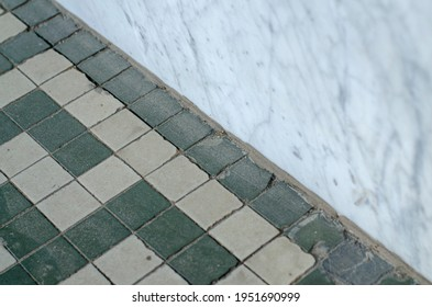 Diagonal Green Tile and Marble Background