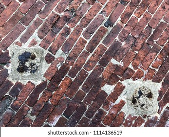 Diagonal red bricks, cement, and rusty metal textured background with copy space.