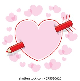 Diagonal Red Pencil Piercing Empty Drawn Love Heart like an Arrow with Drawn Feathers plus Pink infill and surrounding Pink Hearts - Raster