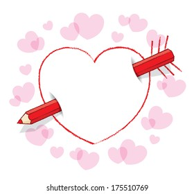 Diagonal Red Pencil Piercing Empty Drawn Love Heart like an Arrow with Feathers plus surrounding Pink Hearts - Raster