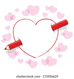 Diagonal Red Pencil Piercing Empty Drawn Love Heart like an Arrow with surrounding Pink Hearts - Raster