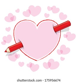 Diagonal Red Pencil Piercing Empty Drawn Love Heart like an Arrow with Pink infill and surrounding Pink Hearts - Raster