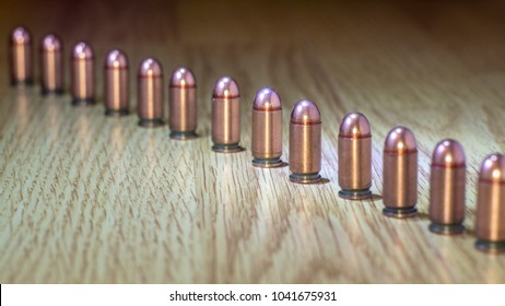 Diagonal Row of Bullets on a light background