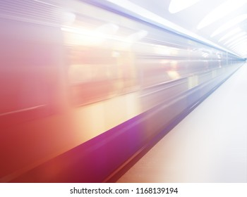 Diagonal speeding train motion blur background