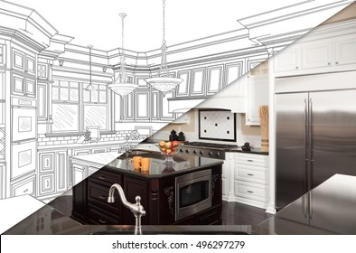 Diagonal Split Screen Of Drawing and Photo of Beautiful New Kitchen.