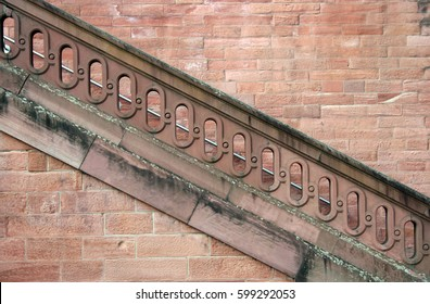 Diagonal stone staircase on an old palace