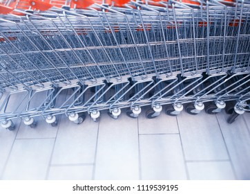 Diagonal supermarket carts row  background
