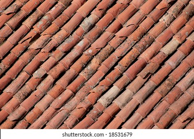Diagonal terracotta tiles background.