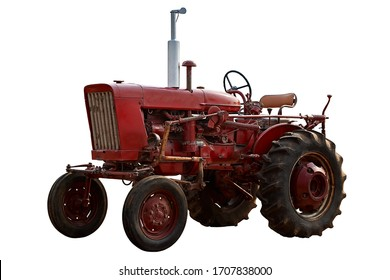 Diagonal view of isolated old red tractor truck in white background
