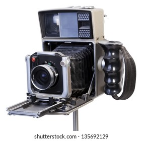 Diagonal view of an old fashioned dusty vintage camera isolated on white background. Clipping path included.