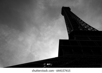 Diagonally Looking up at the Eiffel Tower