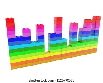 Diagram  built from toy bricks in various colors.3d illustration