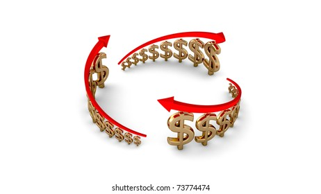 Diagram of business success, gold dollars circle isolated with clipping path