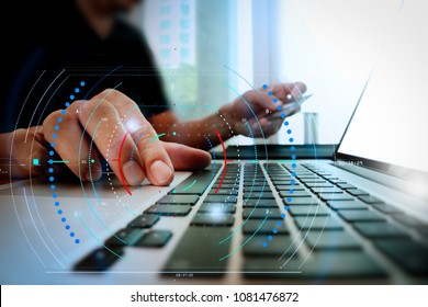 Diagram of digital marketing media (website ad, email, social network, SEO, video, mobile app) and icon.hands using laptop and holding credit card with social media diagram as Online shopping concept