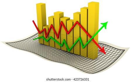 Diagram. Golden chart with arrows change indicators on the sheet in a cage. Isolated. 3D Illustration