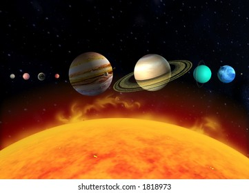 A diagram illustration of the planets of the solar system in relation to the sun