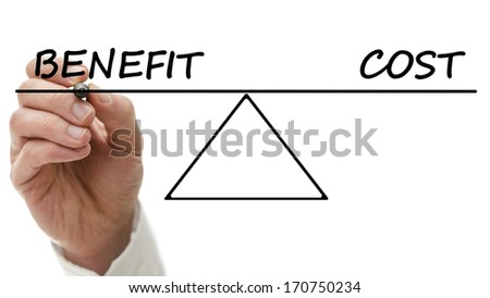 Diagram Seesaw Showing Benefit Cost Perfect Stock Photo Edit Now