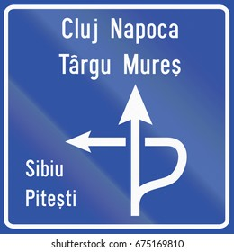 Diagram type direction sign used in Romania.