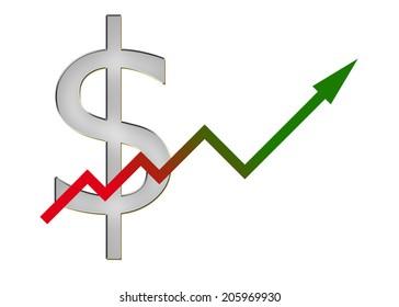 diagram upwards with color gradient and dollar symbol