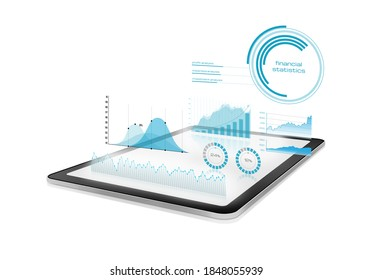 Diagrams and charts projected from a digital tablet - Shutterstock ID 1848055939
