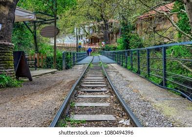 Diakofto - Kalavryta Odontotos rack railway in Zachlorou, Peloponnese, Greece