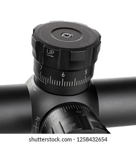 Dial to adjust elevation on a sniper scope isolated on white