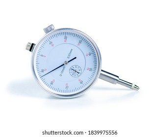 Dial indicator Pressure measuring instrument on white background isolation